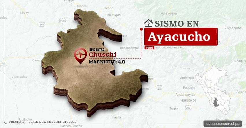 Temblor en Ayacucho de magnitud 4.0 (Hoy Lunes 4 Junio 2018) Sismo EPICENTRO Chuschi - Cangallo - Huamanga - IGP - www.igp.gob.pe