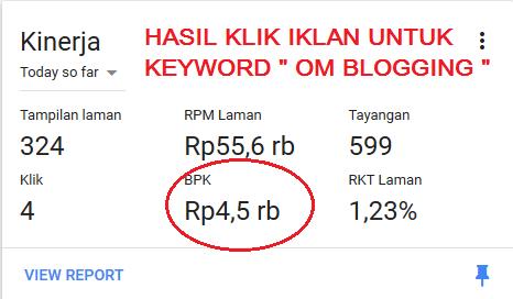 Hasil nilai klik iklan untuk kata kunci om blogging