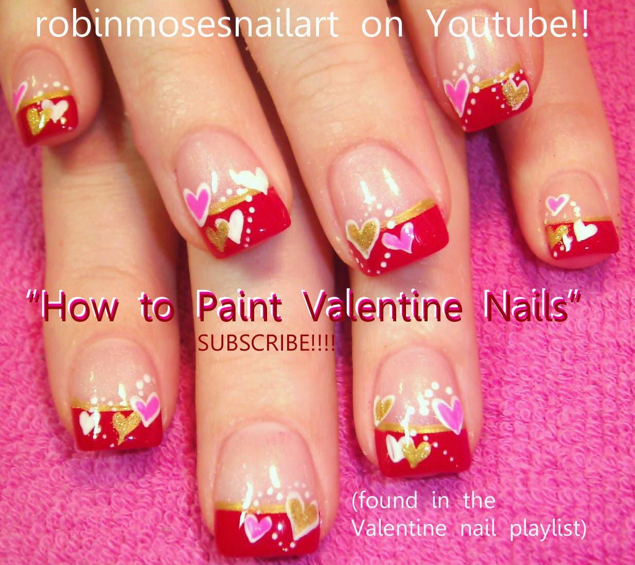 Nail Art By Robin Moses Valentine Nails Nail Art Short