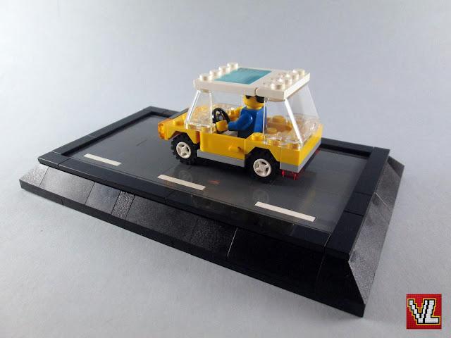 Recriação de pequeno carro LEGO dos finais dos anos 70 e anos 80