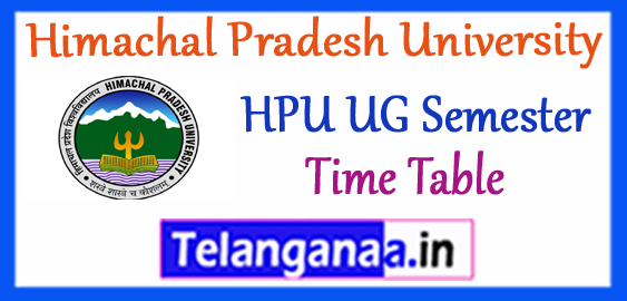 HPU Himachal Pradesh University BA B.Sc B.Com BBA BCA 1st 3rd 5th UG Semester Time Table 2017-18 Admit-Card