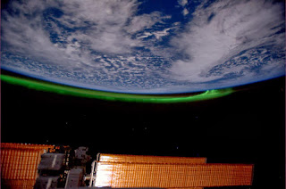 Photograph of Aurora taken from International Space Station by ESA astronaut André Kuipers