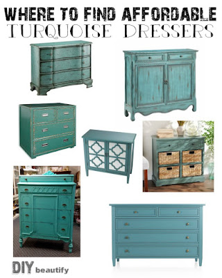I've sourced some amazing and affordable Turquoise Dressers; check them out at DIY beautify!