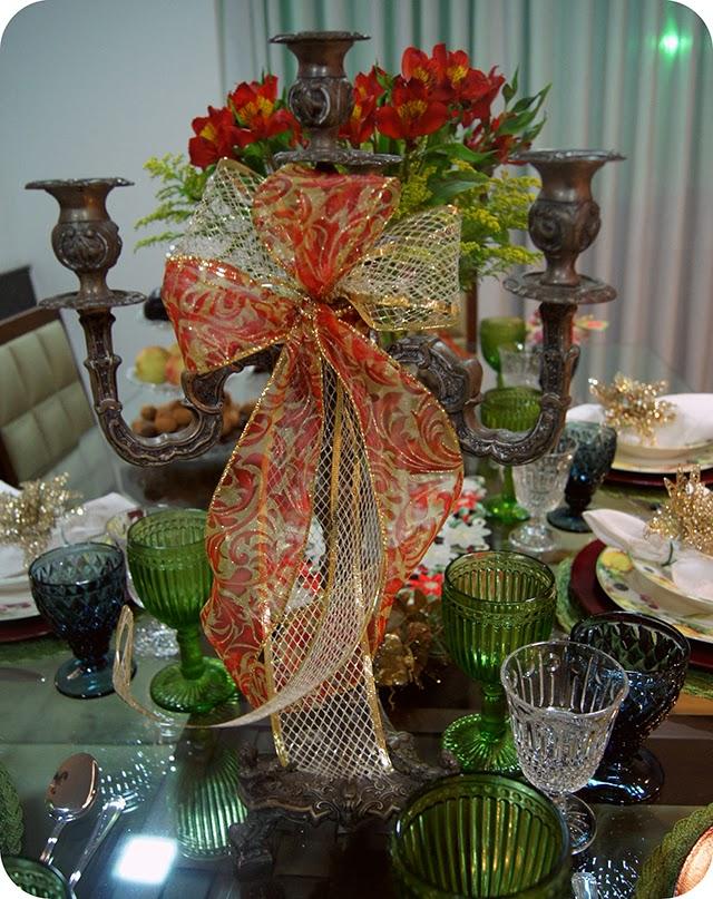 Mesa : Ceia de Natal - Decoração para o Jantar Laço de Fita Castiçais