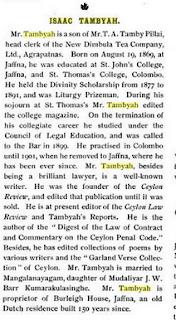 https://books.google.lk/books?id=eUF_rS8FEoIC&lpg=PA789&ots=IkcGkTdUqd&dq=Isaac%20Tambyah&pg=PA789#v=onepage&q=Isaac%20Tambyah&f=false Wrights Impressions of Ceylon