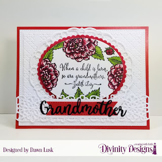 Divinity Designs Stamp Set: Grandmother's Heart, Custom Dies: Family Names 1, Scalloped Ovals, Ovals, Pierced Rectangles, Layered Lacey Ovals, Double Stitched Pennant Flags, Treat Tags, Flower Lattice, Embossing Folder: Cross Stitch