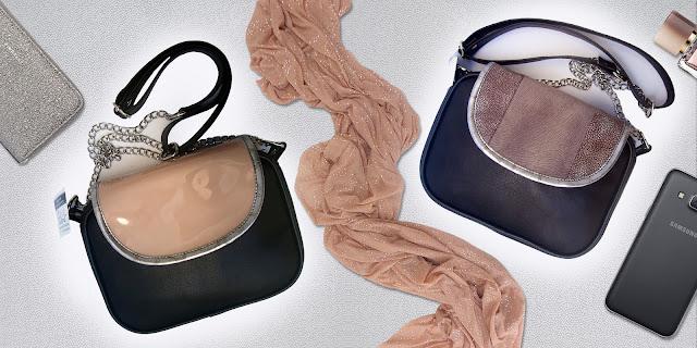 Bandoleras con media tapa combinadas con charol nude o agamuzado visón.