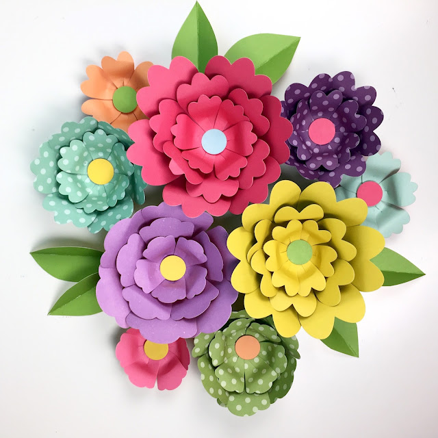 3D Paper Flowers from Jen Gallacher www.jengallacher.com. #paperflower #diecutting #kidscraft #jengallacher