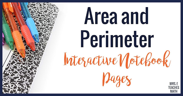 5 area and perimeter INB page ideas for a high school geometry class.