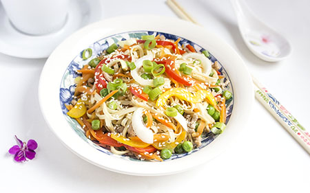 Chinese food - Egg noodles with vegetables and minced pork