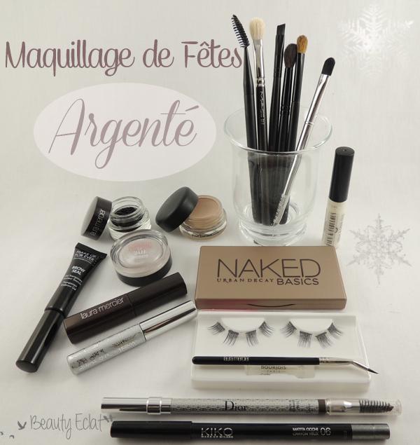 tutoriel maquillage fêtes argenté faux cils