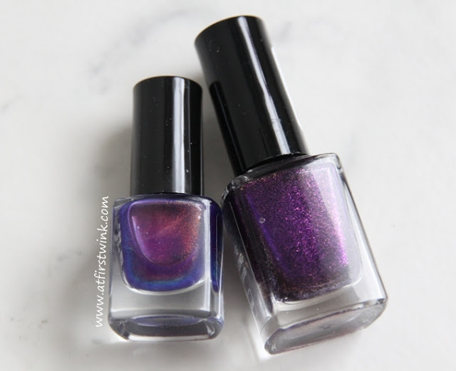 HEMA long lasting nail polish 827 and the Max Factor Max Effect mini nail polish 45 - Fantasy Fire