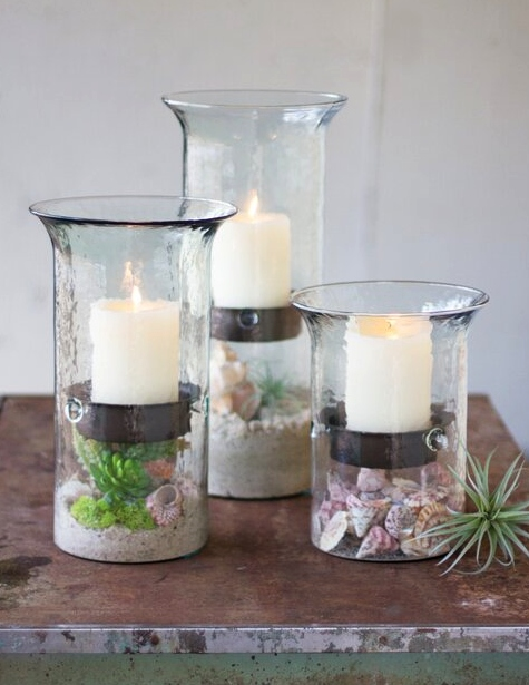 Glass Candle Holders with Inserts for Bottom Beach Shell Displays Terrarium