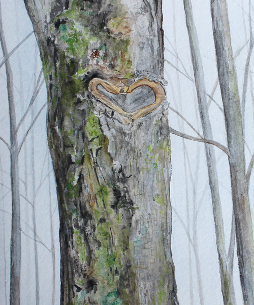 Detail of heart tree watercolour painting
