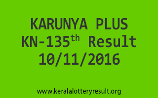 KARUNYA PLUS KN 135 Lottery Results 10-11-2016