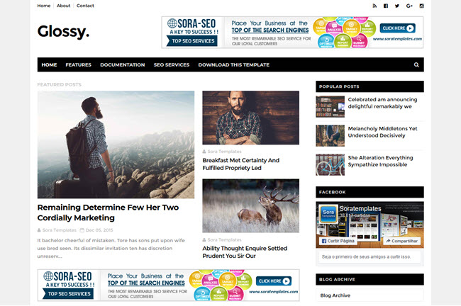 [Free Download] Glossy Blogger Template