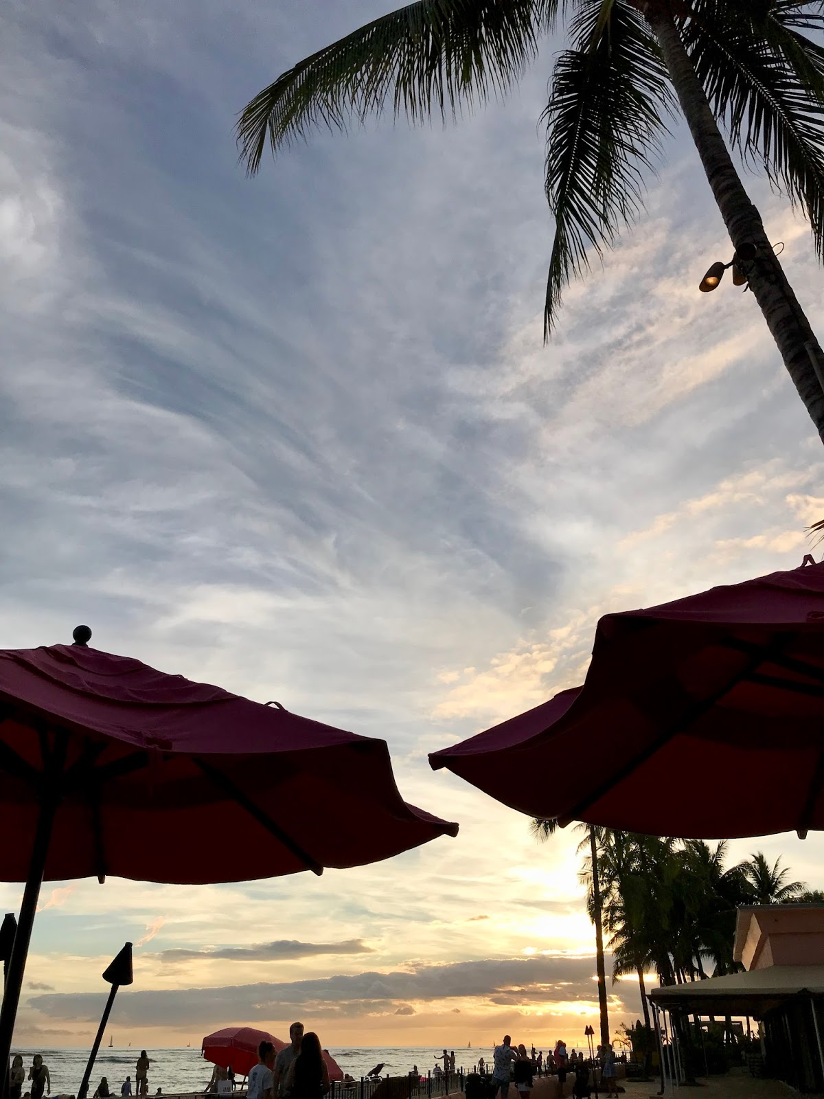 sunset view from the Mai Tai Bar at Waikiki Beach