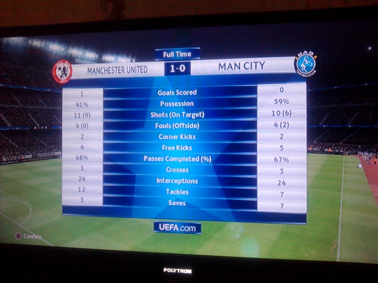 Hasil akhir main pes man utd vs man city