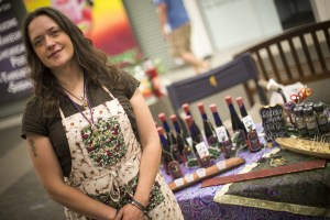 Holly Thorssin has been in the balsamic business for eight years. Find Mosquito Mama at the farmer's market, or in specialty stores statewide. (Photo by Ted Kincaid / University of Alaska Anchorage)