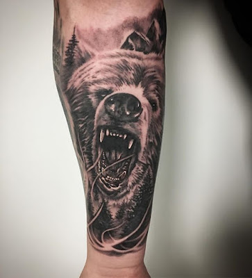 california bear tattoo for forearms