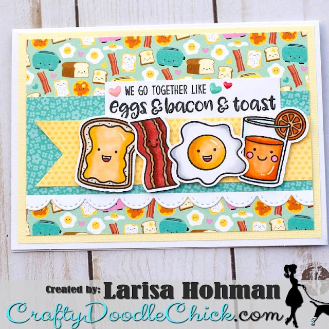 Sunny Studio Stamps: Breakfast Puns Customer Card by Larisa Hohman