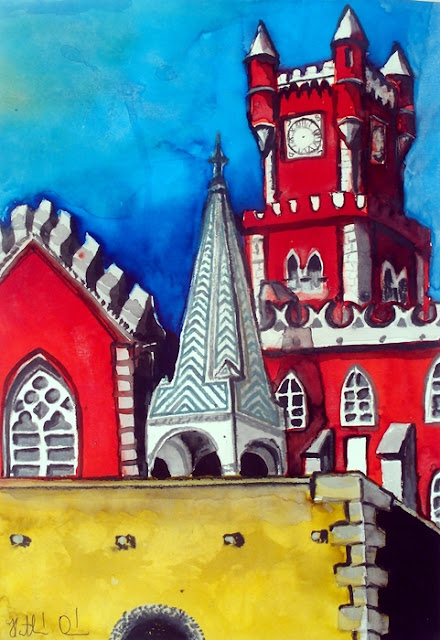 Pena Palace in Portugal painting by Dora Hathazi Mendes