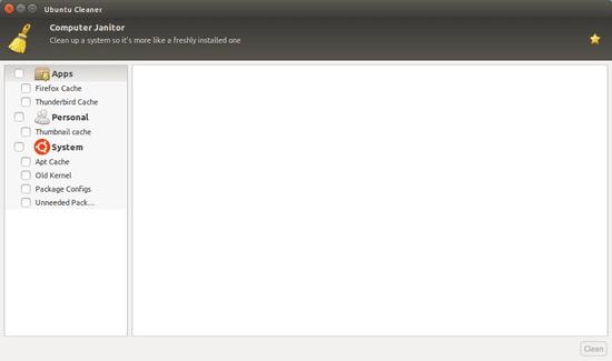 Tampilan Ubuntu Cleaner