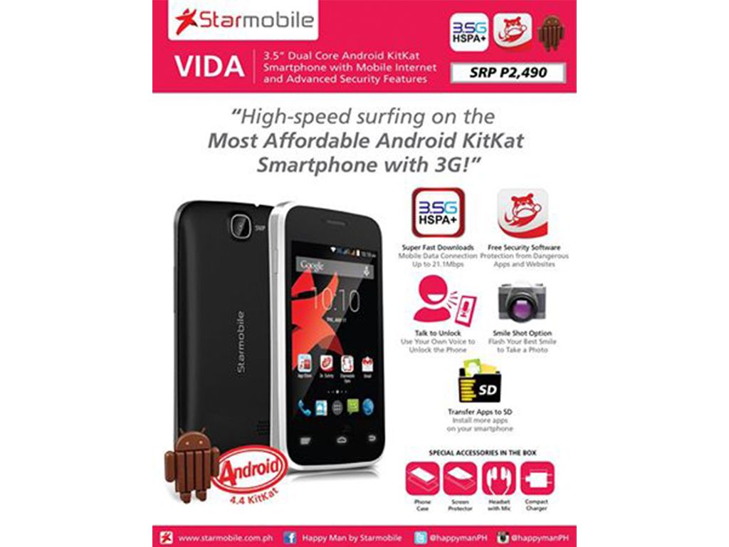 "Starmobile Vida: 3.5"" Dual Core Android Kitkat Smartphone priced at Php 2,490"