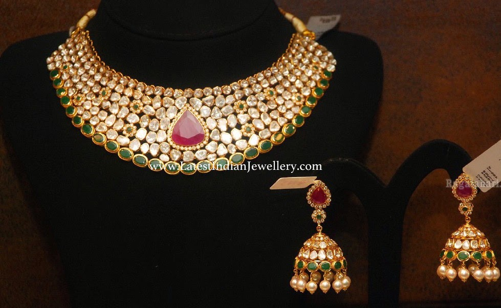 Polki Diamond Necklace Jhumkas Set