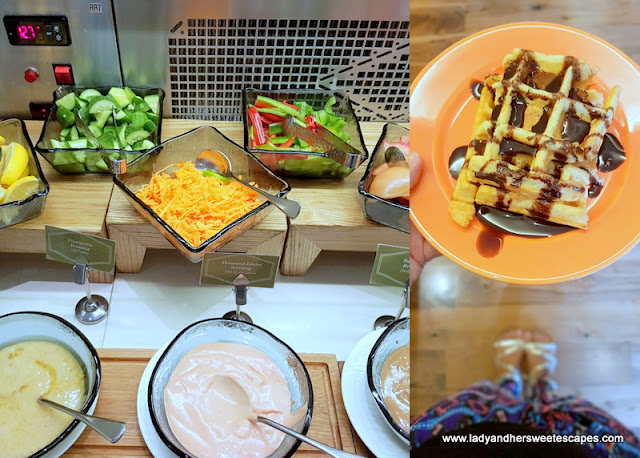 salad bar and waffles for breakfast