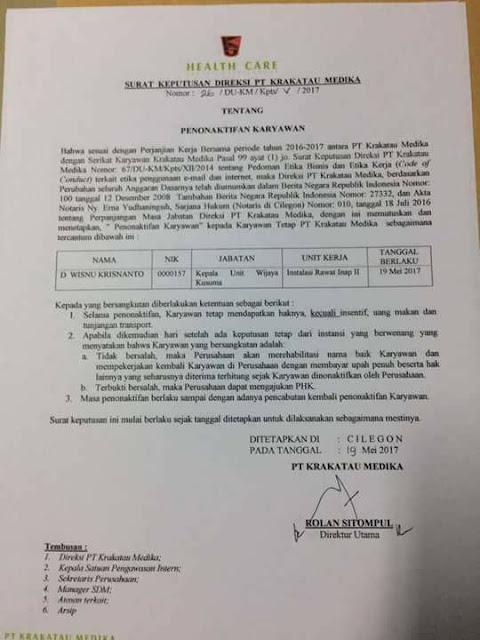 Hina Islam dan Ulama, Kepala Unit Keperawatan RSKM Cilegon Dipecat