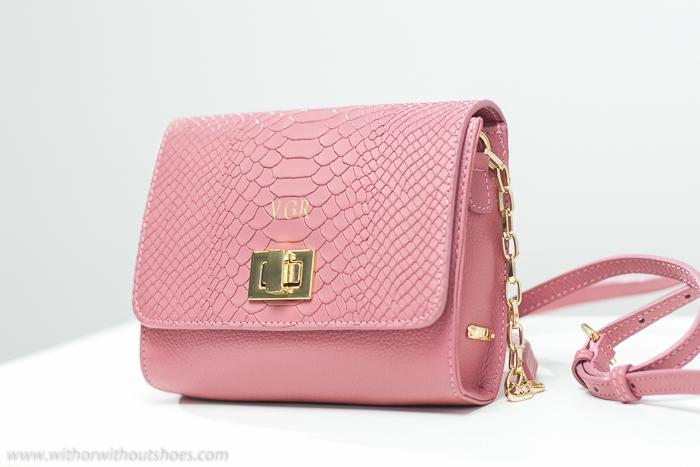 Bandolera Rosa De York Catie Bolso Color New Bag Crossbody Cuero Rose Gigi Grabado 1HqnRO