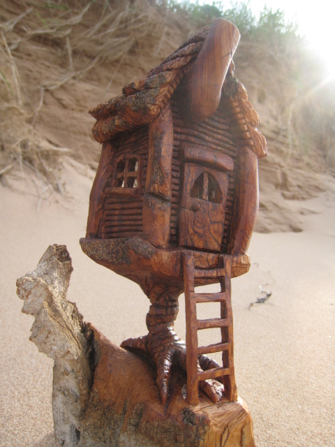 Ales the woodcarver September 2011  Baba Yagas house