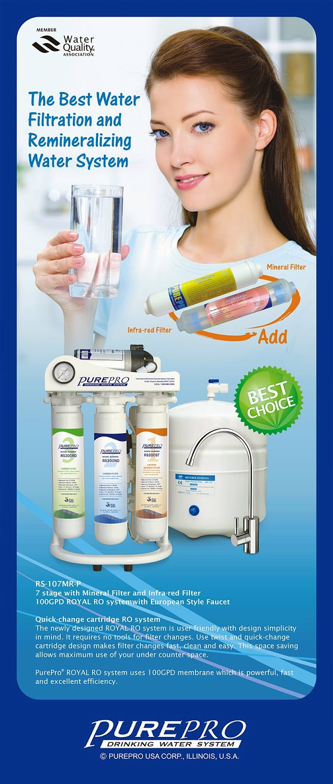 PurePro Royal ®  RS-107  Reverse Osmosis Water Purification System