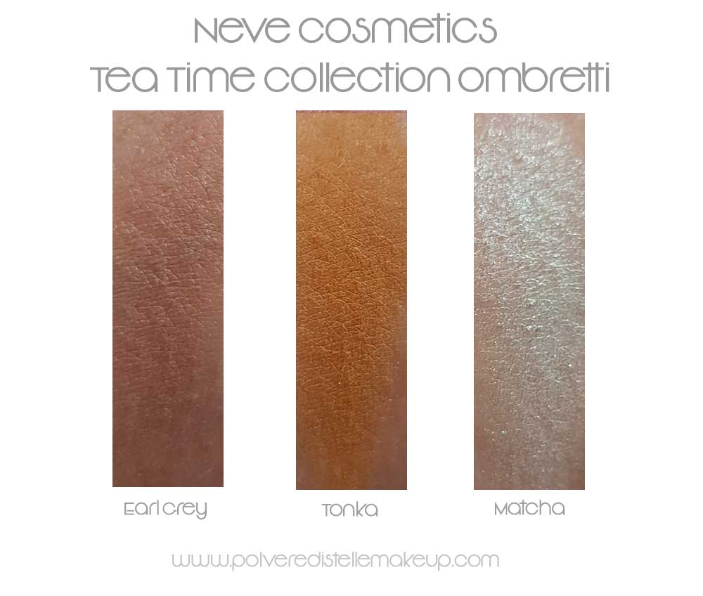 Neve Cosmetics ombretti Tea Time Collection swatches