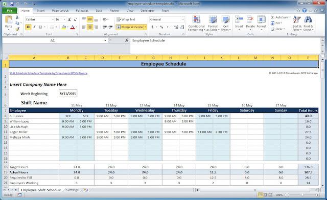 Work Schedule Template Download Free