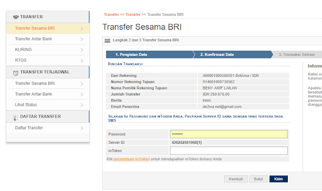 Cara Transfer Bank BRi