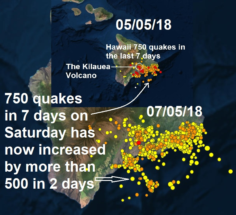 More than 500 quakes show tremors have almost doubled in the last 48 hours around the Kilauea Volcano Hawaii  Naamloos