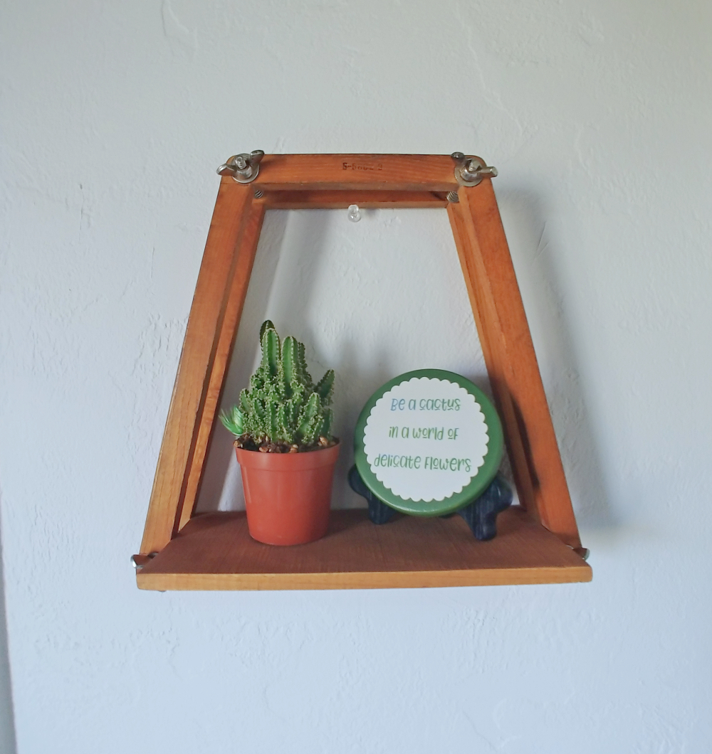 shelf made from an old tennis racket frame
