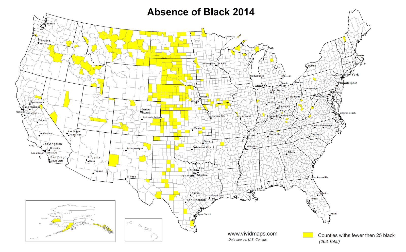 Counties with fewer than 25 black Americans, 2014