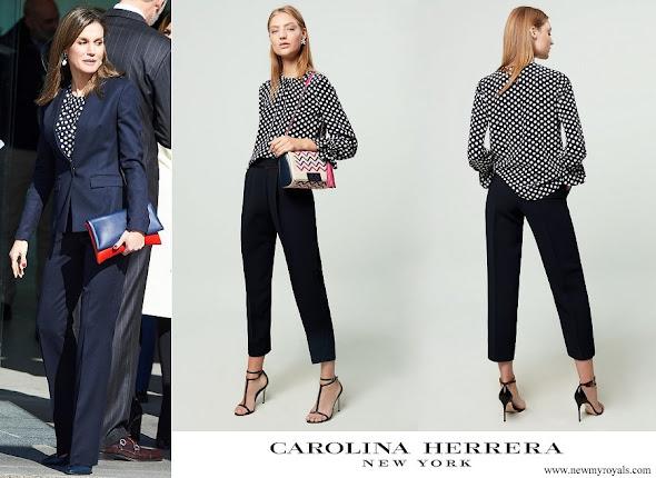 Queen Letizia wore Carolina Herrera navy ecru polka dot silk blouse