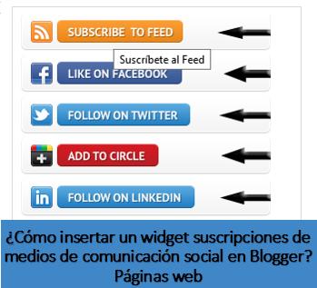¿Cómo insertar un widget suscripciones de medios de comunicación social en Blogger? Páginas web
