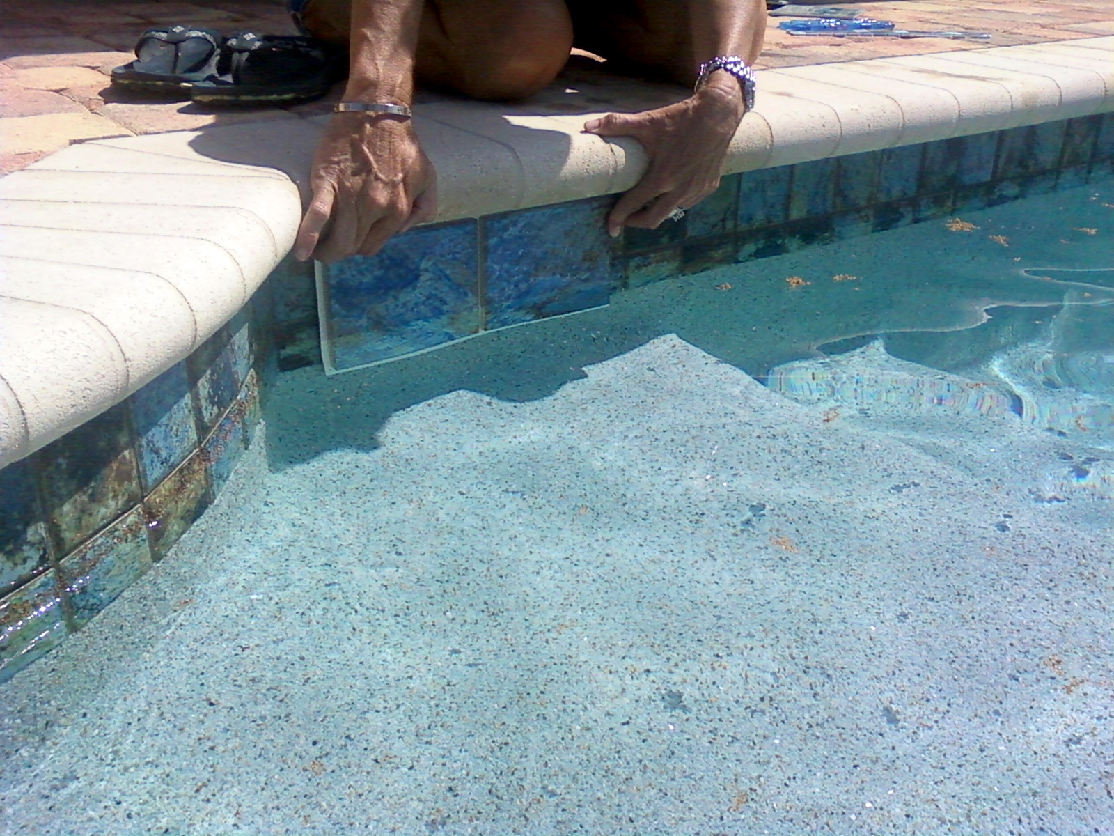 The New Blue Pool Tiles And Pebbles And Coping Oh