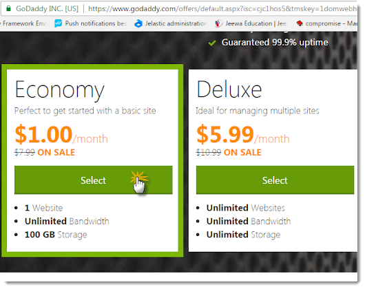 Get a FREE .COM Domain Name and $1.00/ month Web Hosting from GoDaddy