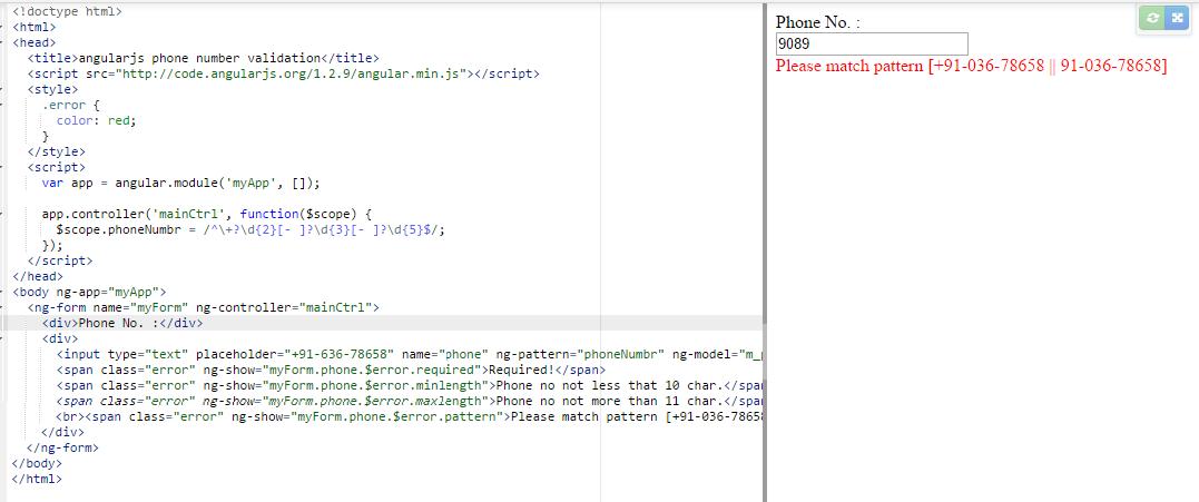 AngularJs Phone Number Validation - Angular, TypeScript, Vue