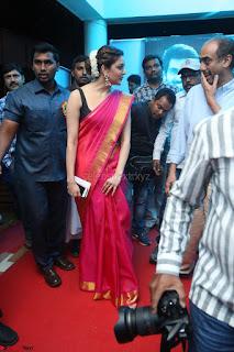 Kajal Aggarwal in Red Saree Sleeveless Black Blouse Choli at Santosham awards 2017 curtain raiser press meet 02.08.2017