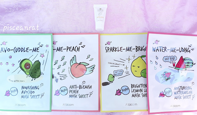 O Skin Olivia Quido Secret Glow Mask sampler, Althea Korea A'Bloom sheet masks in  Avo-Cudddle-Me, Ac-Me Peach, Sparkle-Me-Bright, Water-Me-Long.