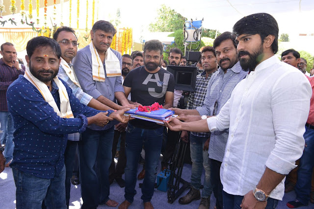 Megastar Chiranjeevi at Ramcharan sukumar new movie launch