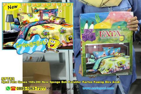 Sprei Fata Queen 160x200 New Sponge Bob Karakter Kartun Kuning Biru Anak