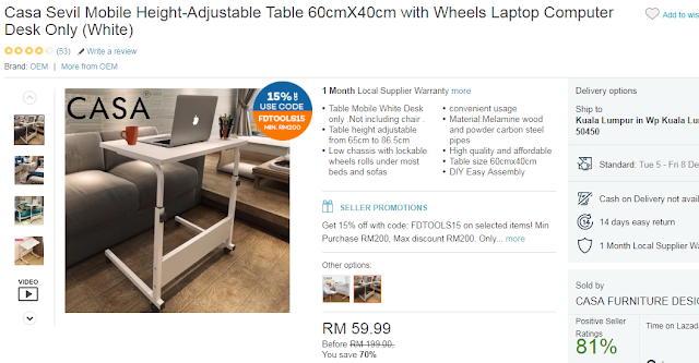 Casa Sevil Mobile Height-Adjustable Table 60cmX40cm with Wheels Laptop Computer Desk Only (White), Online Shopping, Lazada, Lazada Blogger Contest, Online Revolution,